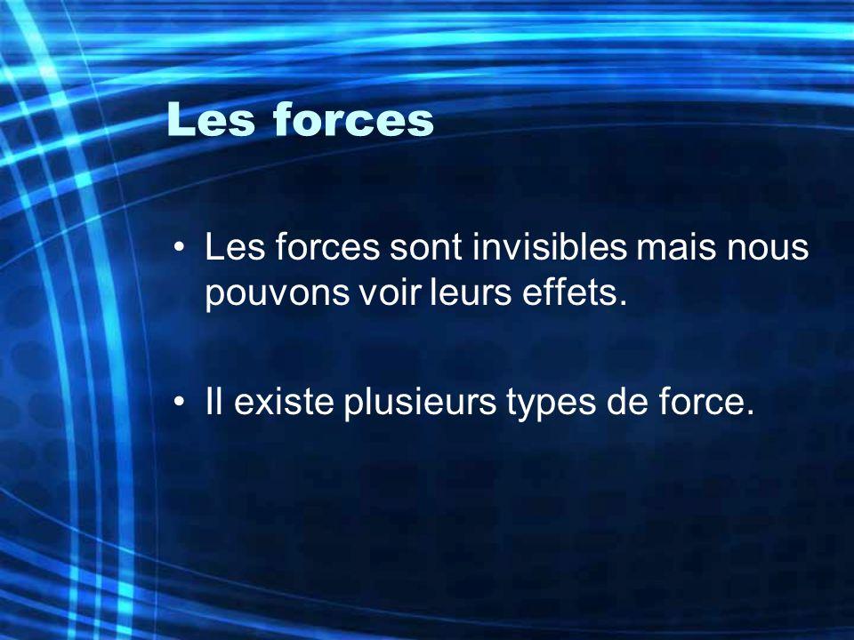 Les forces Les forces sont invisibles mais nous pouvons voir leurs effets.