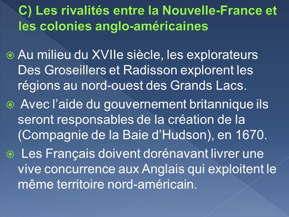 C) Les rivalités entre la Nouvelle-France et les colonies anglo-américaines