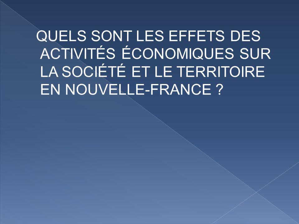 QUELS SONT LES EFFETS DES ACTIVITÉS ÉCONOMIQUES SUR LA SOCIÉTÉ ET LE TERRITOIRE EN NOUVELLE-FRANCE