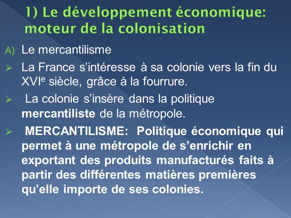 1) Le développement économique: moteur de la colonisation