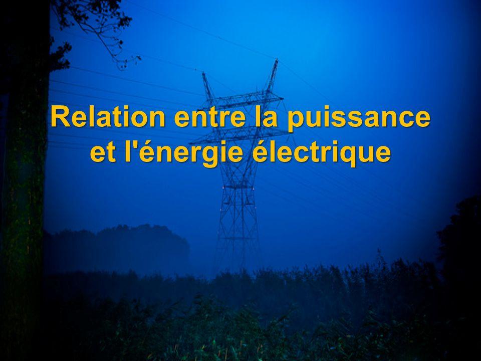 Relation entre la puissance et l énergie électrique
