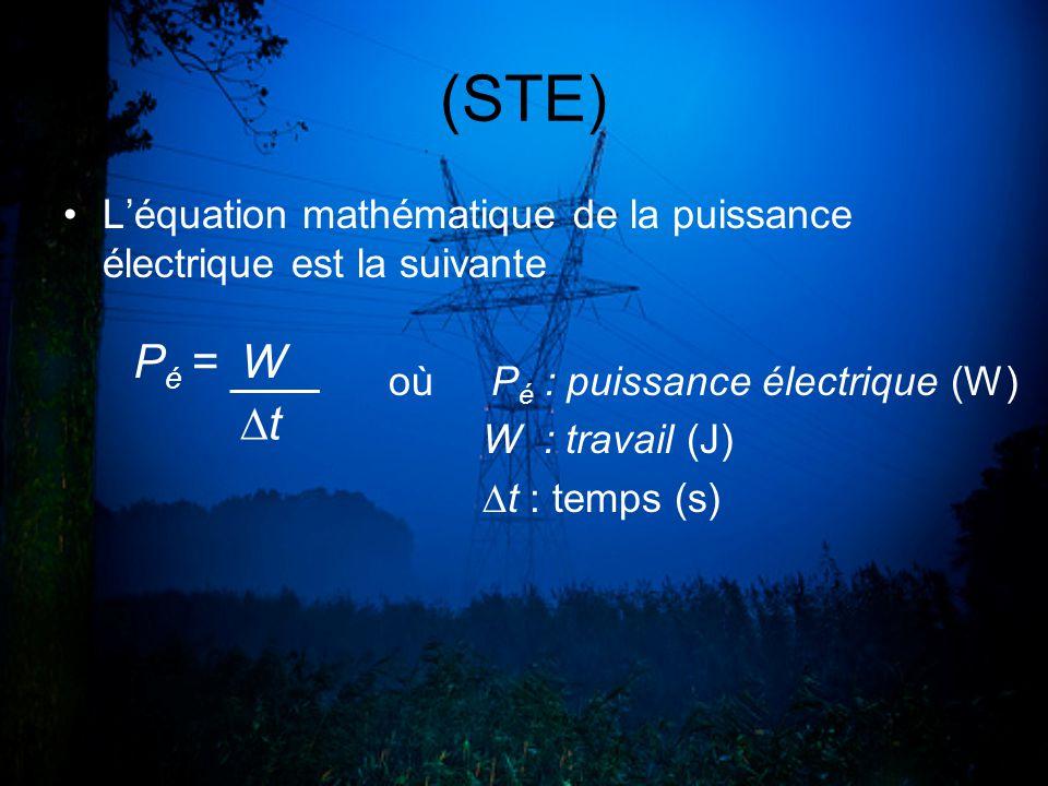 (STE) L'équation mathématique de la puissance électrique est la suivante. où Pé : puissance électrique (W)