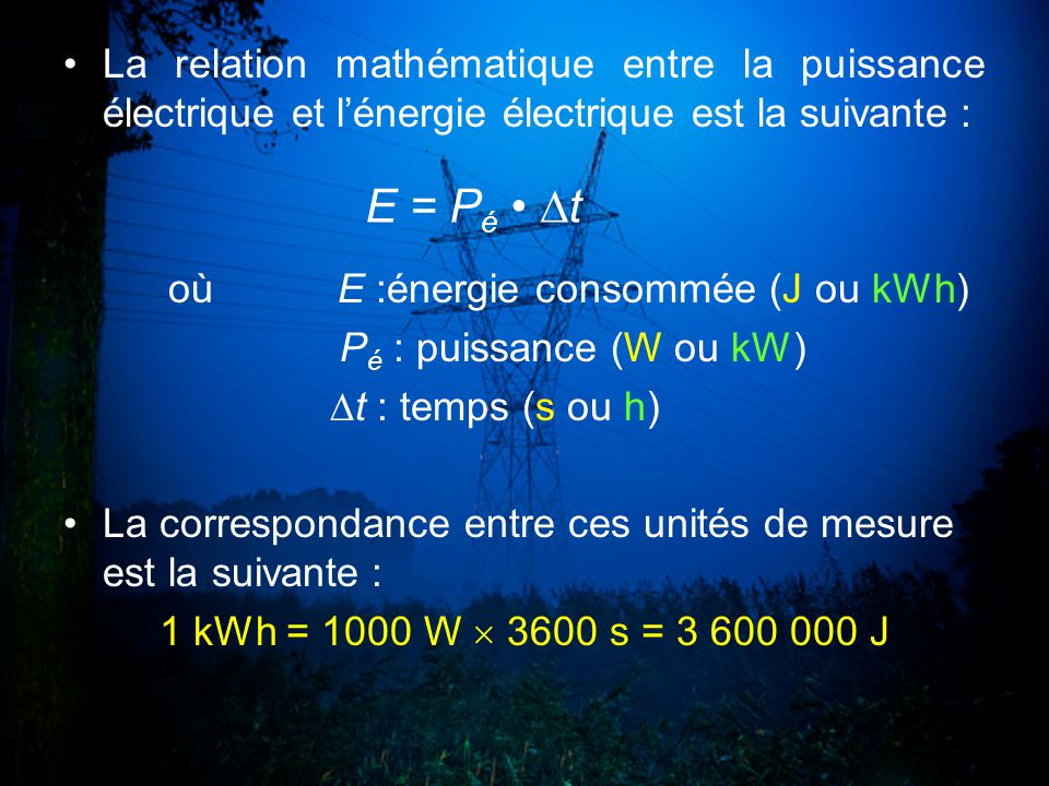 La relation mathématique entre la puissance électrique et l'énergie électrique est la suivante :
