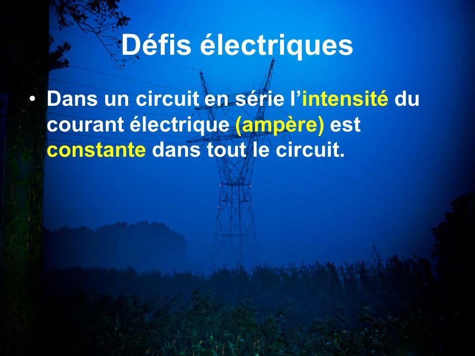 Défis électriques Dans un circuit en série l'intensité du courant électrique (ampère) est constante dans tout le circuit.
