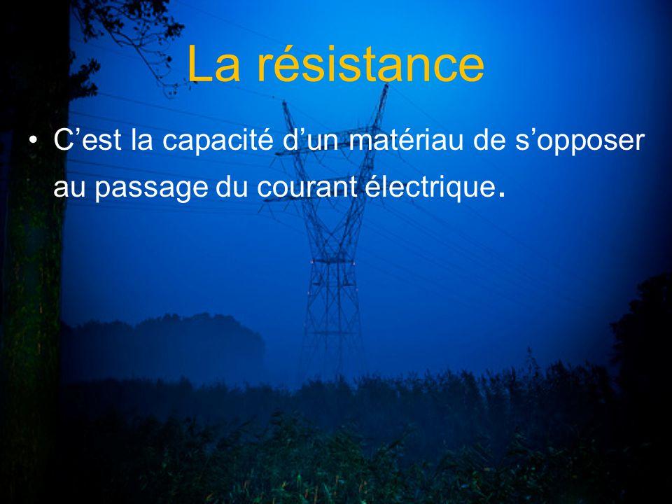 La résistance C'est la capacité d'un matériau de s'opposer au passage du courant électrique.