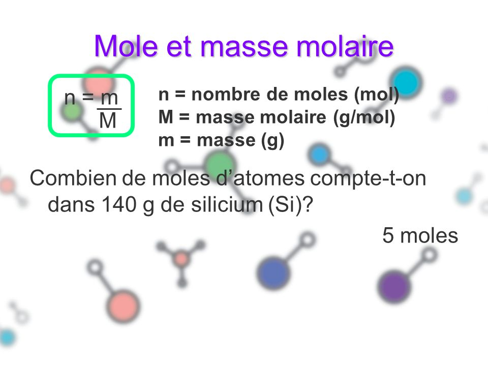 Mole et masse molaire n = m M