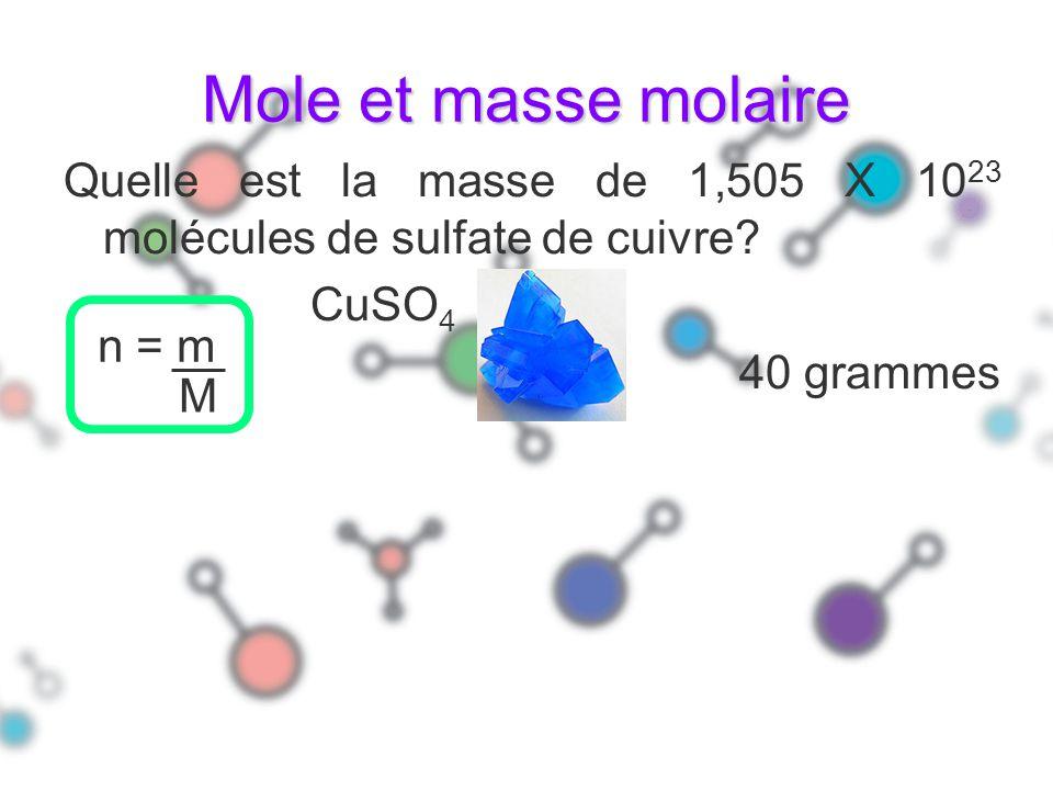 Mole et masse molaire Quelle est la masse de 1,505 X 1023 molécules de sulfate de cuivre CuSO4. 40 grammes.