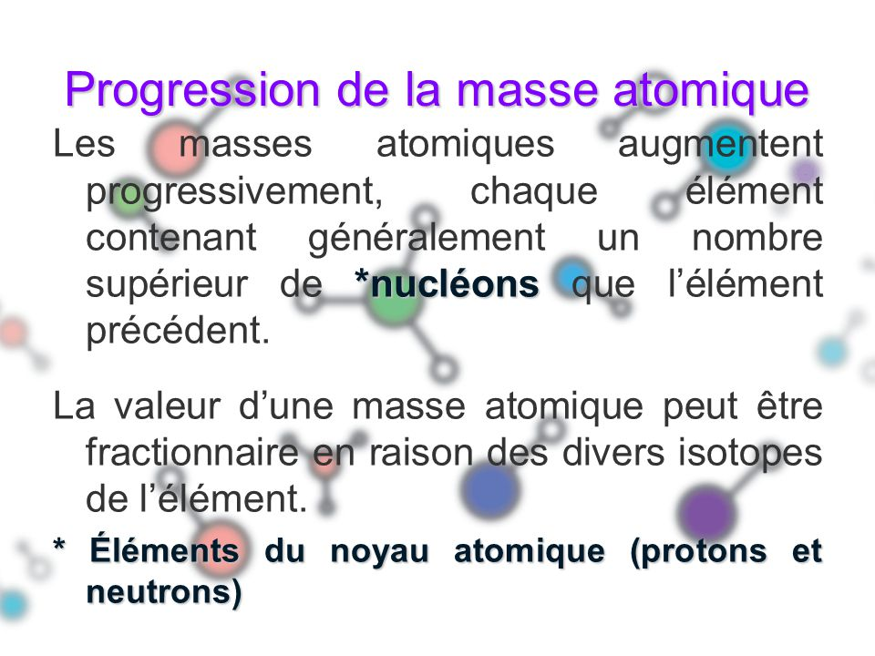 Progression de la masse atomique