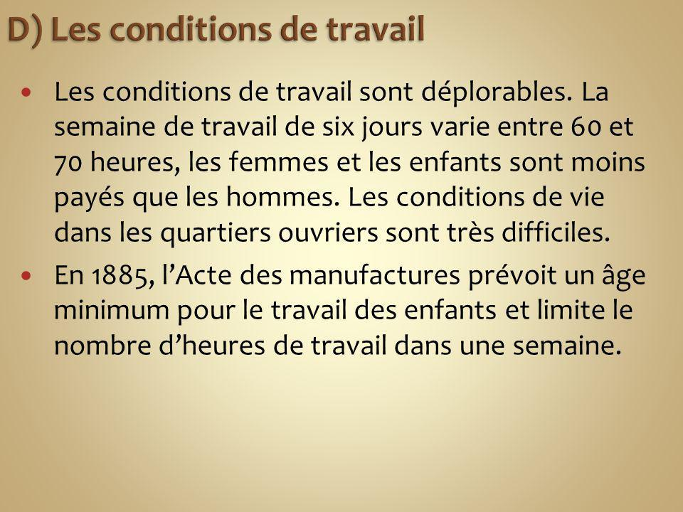 D) Les conditions de travail