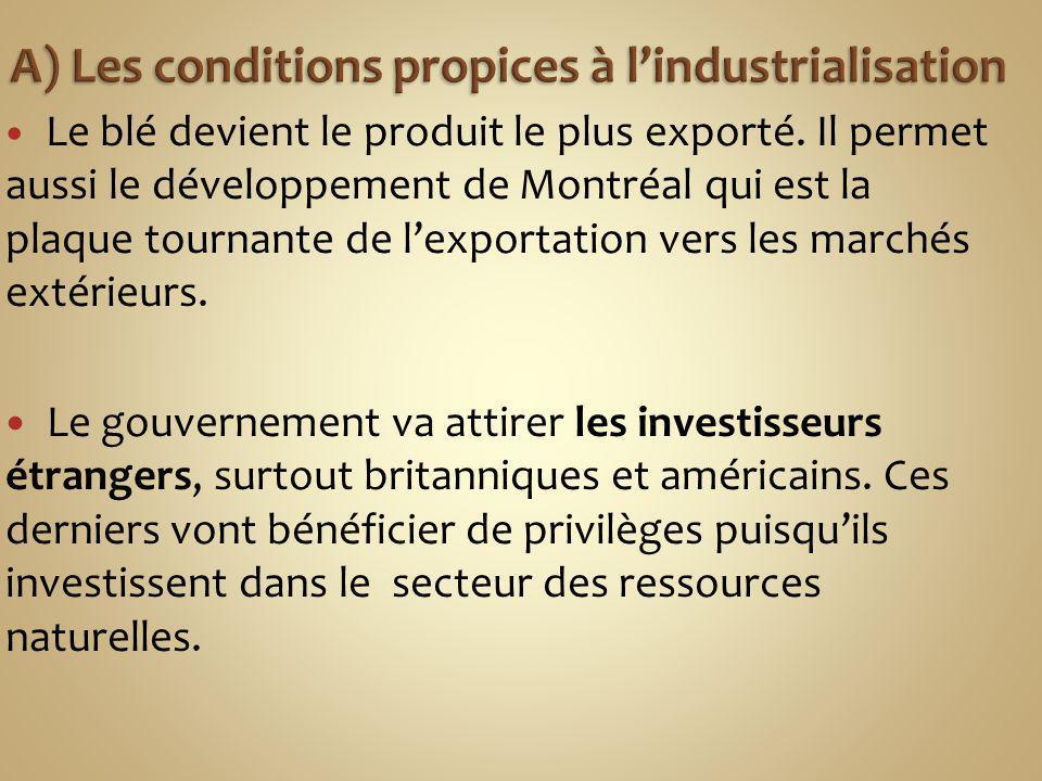 A) Les conditions propices à l'industrialisation
