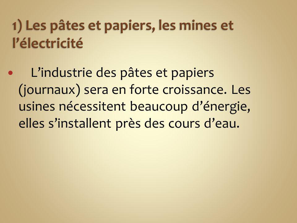 1) Les pâtes et papiers, les mines et l'électricité