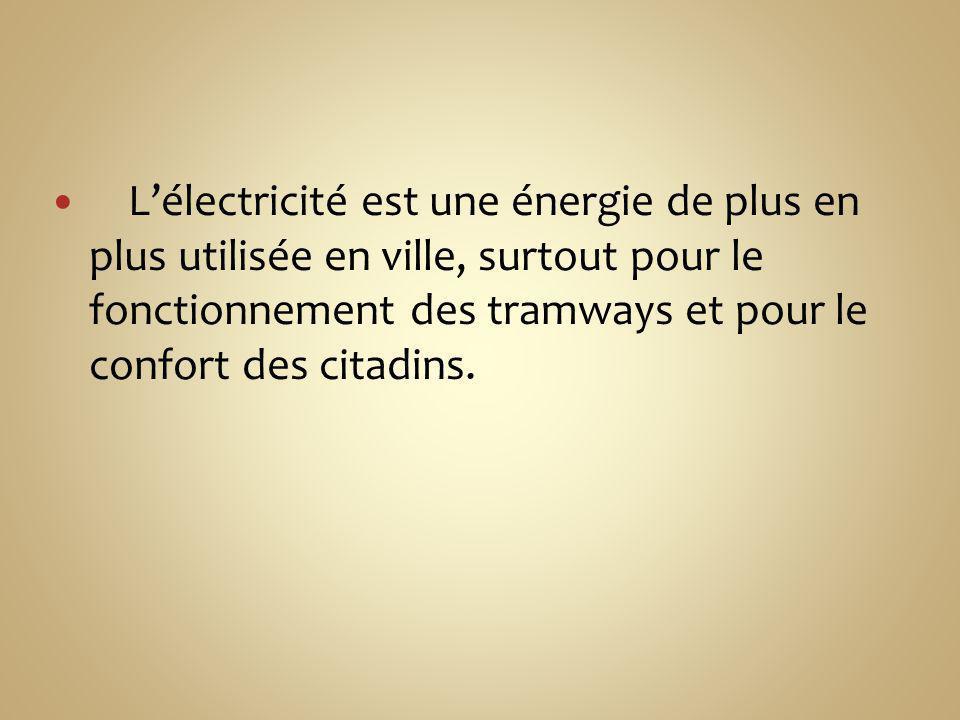 L'électricité est une énergie de plus en plus utilisée en ville, surtout pour le fonctionnement des tramways et pour le confort des citadins.