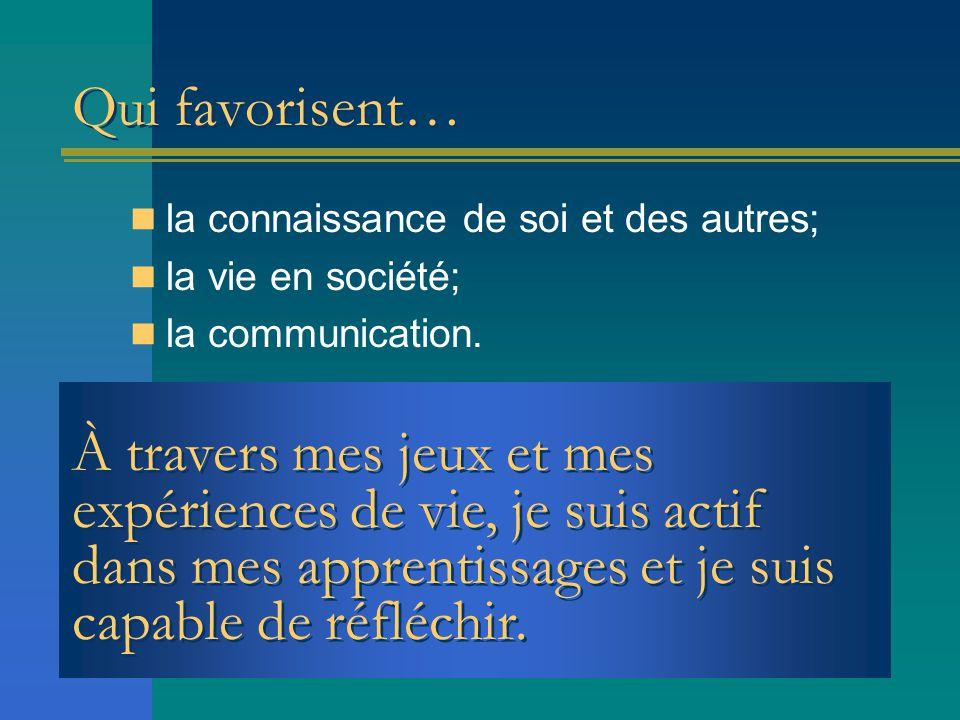 Qui favorisent… la connaissance de soi et des autres; la vie en société; la communication.