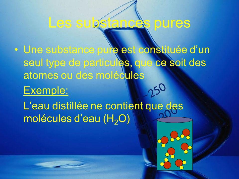 Les substances pures Une substance pure est constituée d'un seul type de particules, que ce soit des atomes ou des molécules.