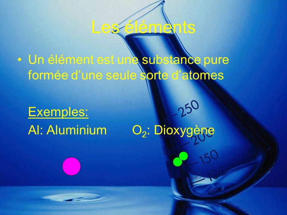 Les éléments Un élément est une substance pure formée d'une seule sorte d'atomes.
