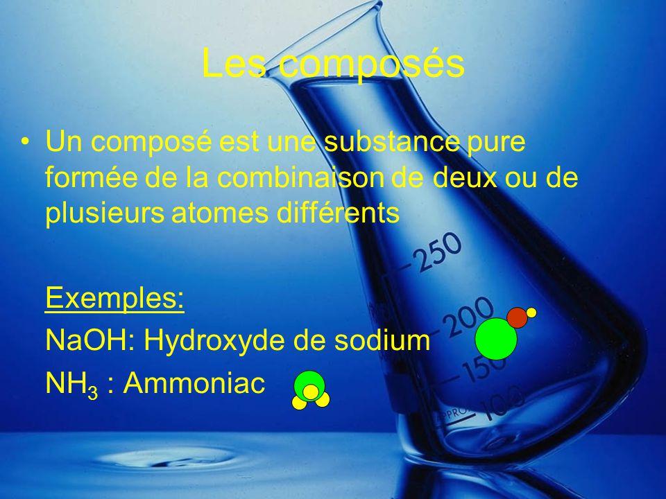 Les composés Un composé est une substance pure formée de la combinaison de deux ou de plusieurs atomes différents.