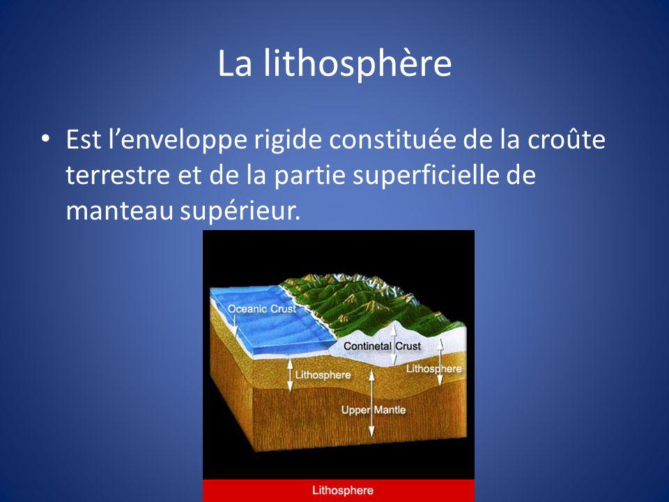 La lithosphère Est l'enveloppe rigide constituée de la croûte terrestre et de la partie superficielle de manteau supérieur.