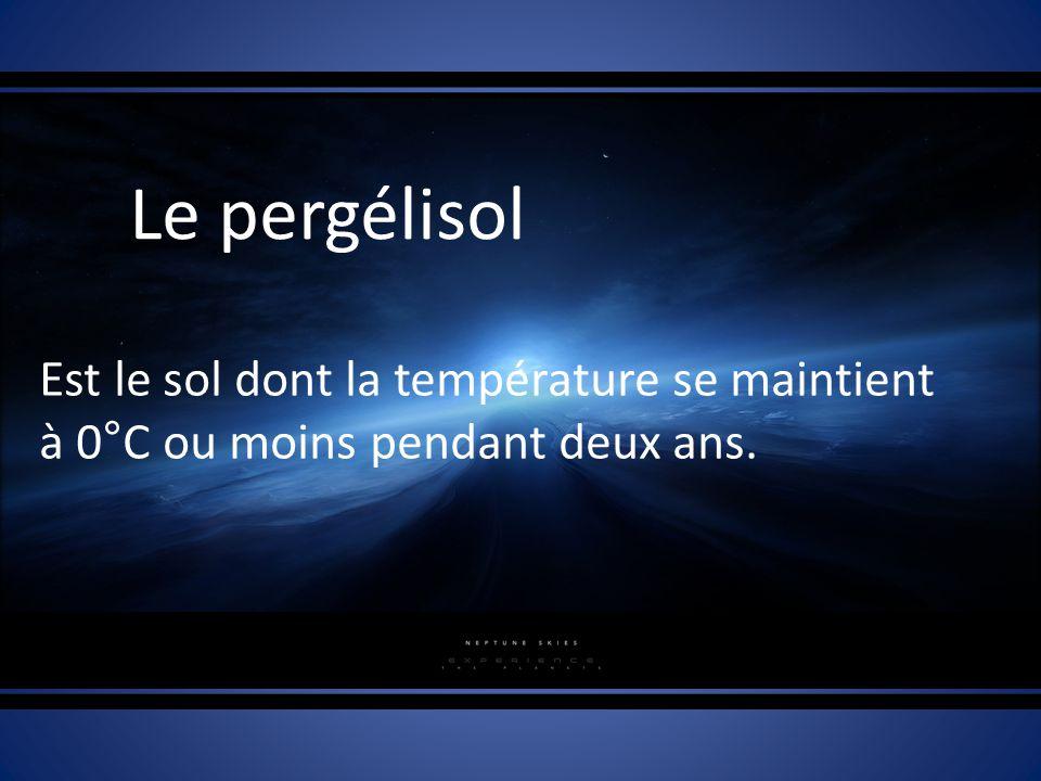 Le pergélisol Est le sol dont la température se maintient à 0°C ou moins pendant deux ans.