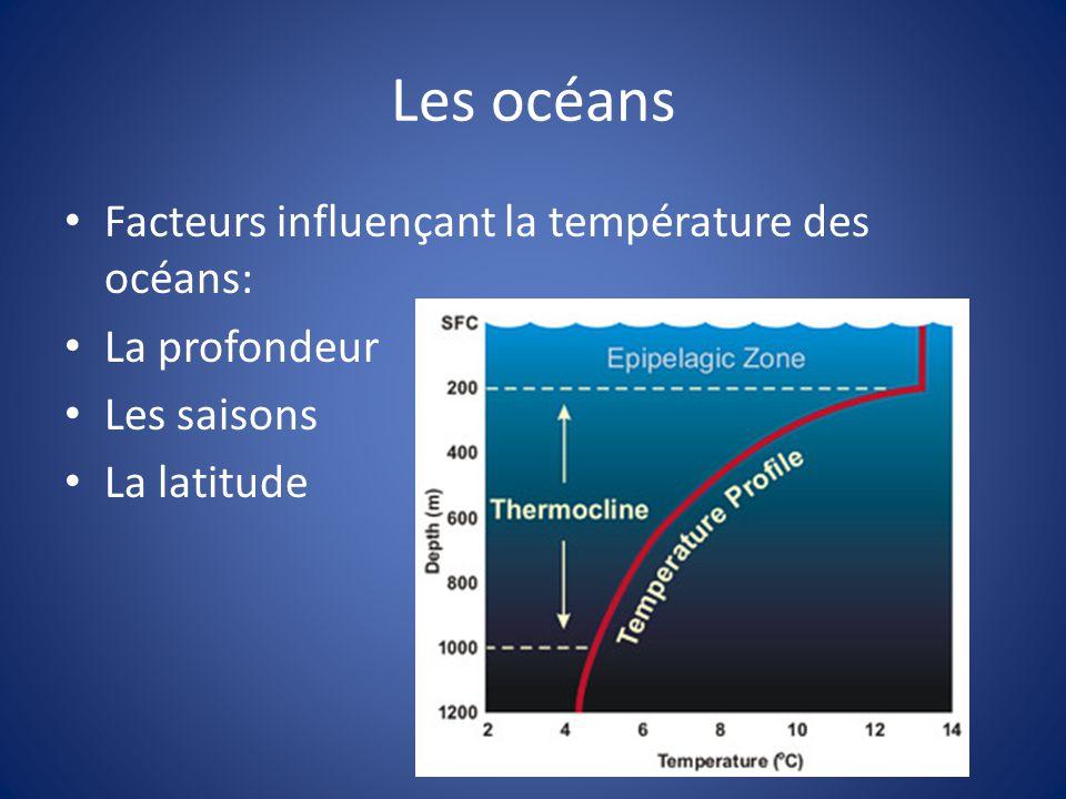 Les océans Facteurs influençant la température des océans: