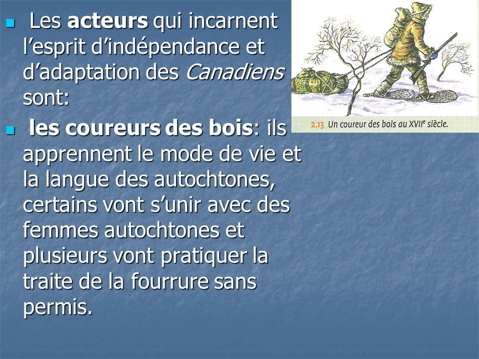 Les acteurs qui incarnent l'esprit d'indépendance et d'adaptation des Canadiens sont: