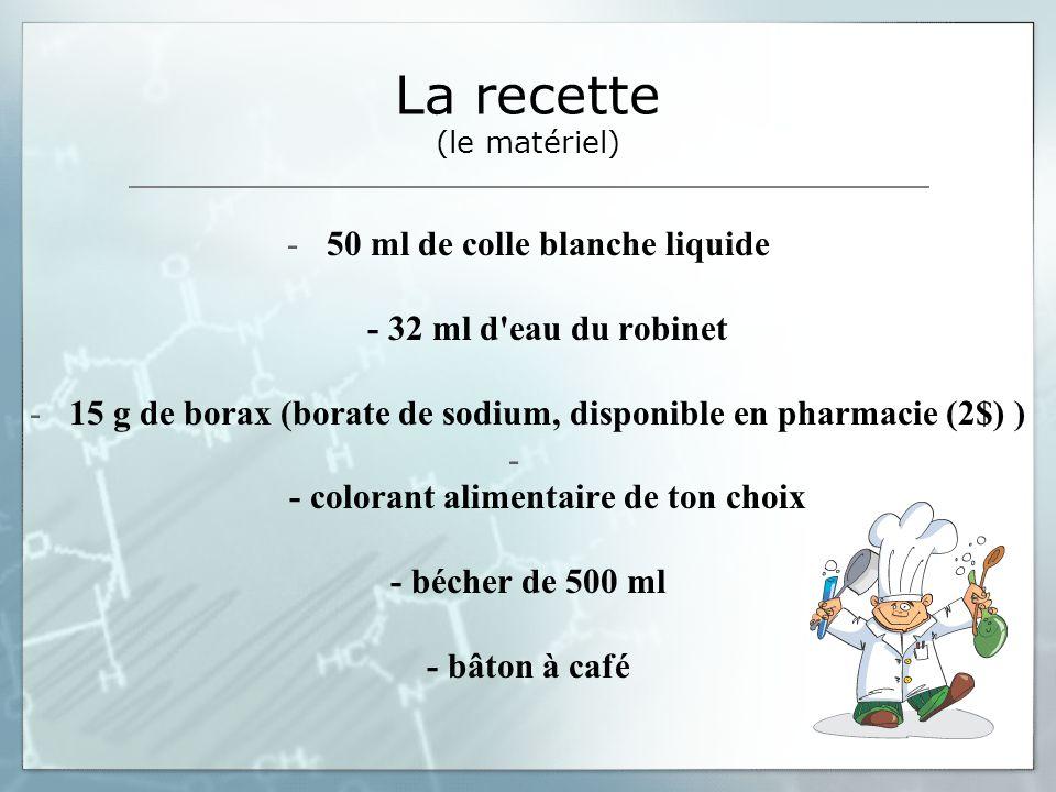 La recette (le matériel)