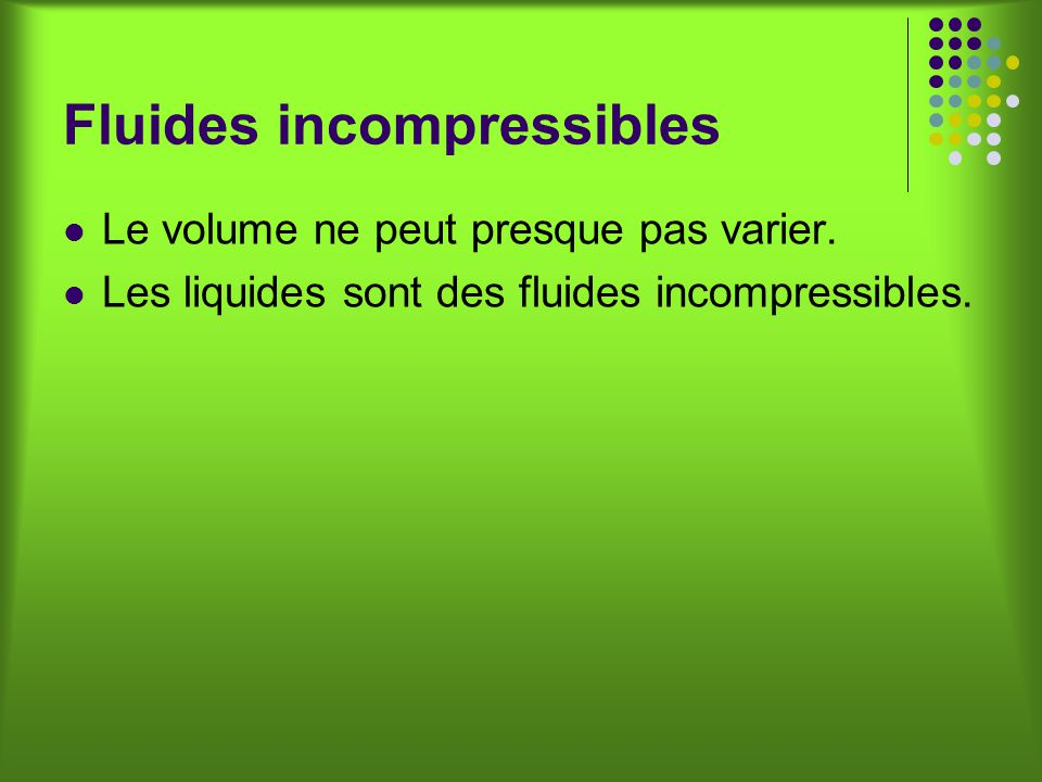 Fluides incompressibles