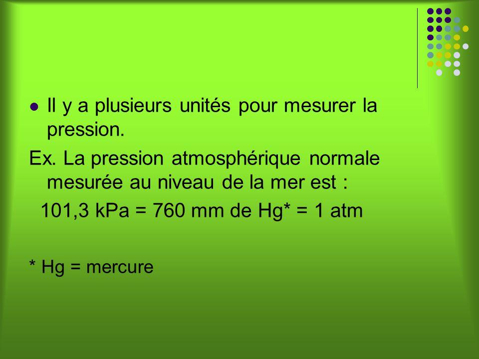 Il y a plusieurs unités pour mesurer la pression.