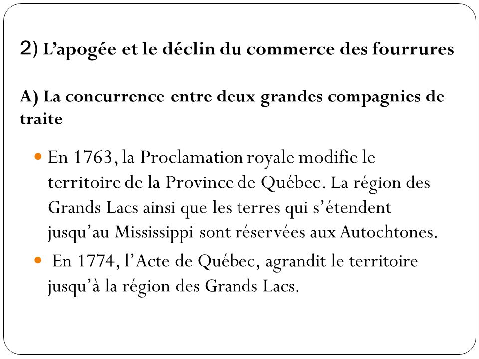 2) L'apogée et le déclin du commerce des fourrures A) La concurrence entre deux grandes compagnies de traite