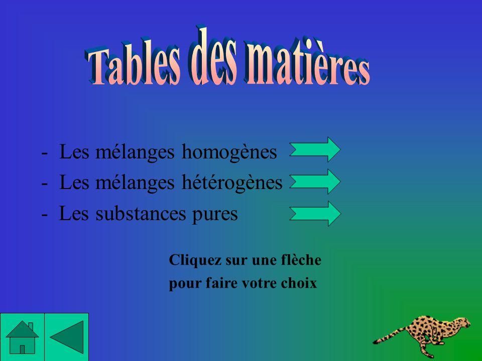 Tables des matières Les mélanges homogènes Les mélanges hétérogènes