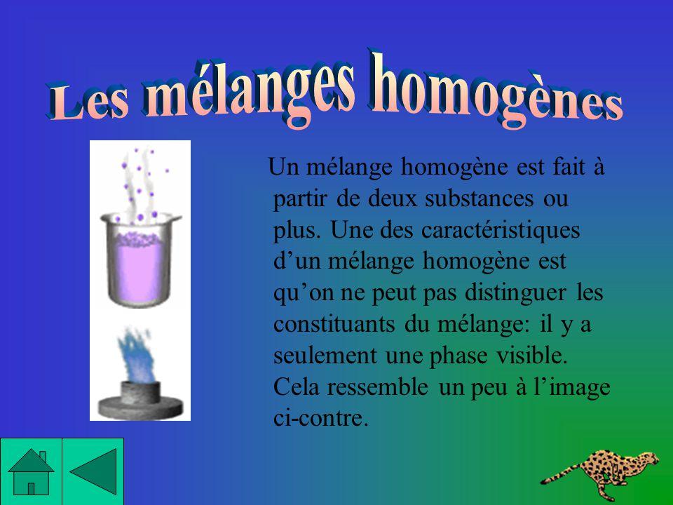 Les mélanges homogènes