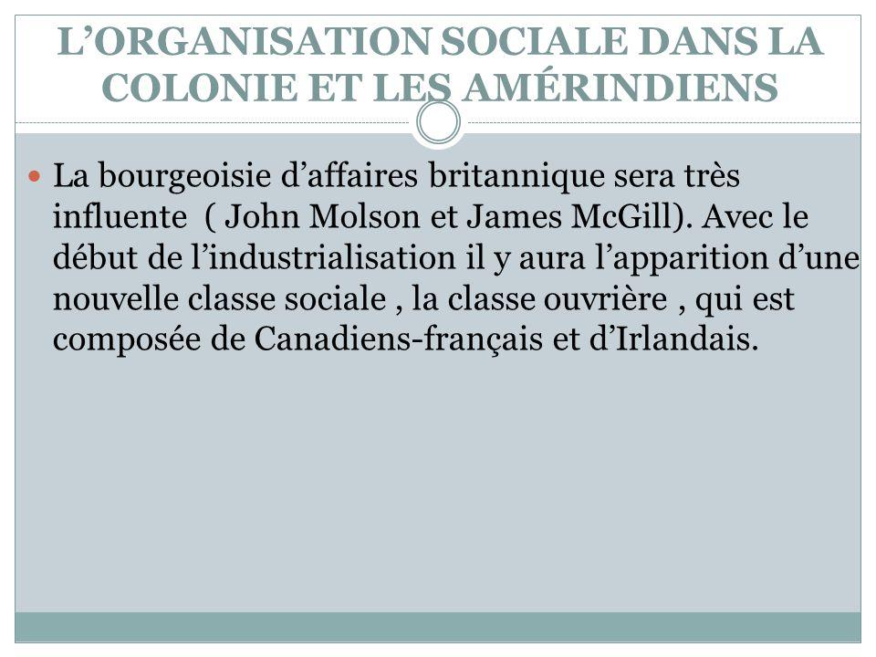 L'ORGANISATION SOCIALE DANS LA COLONIE ET LES AMÉRINDIENS