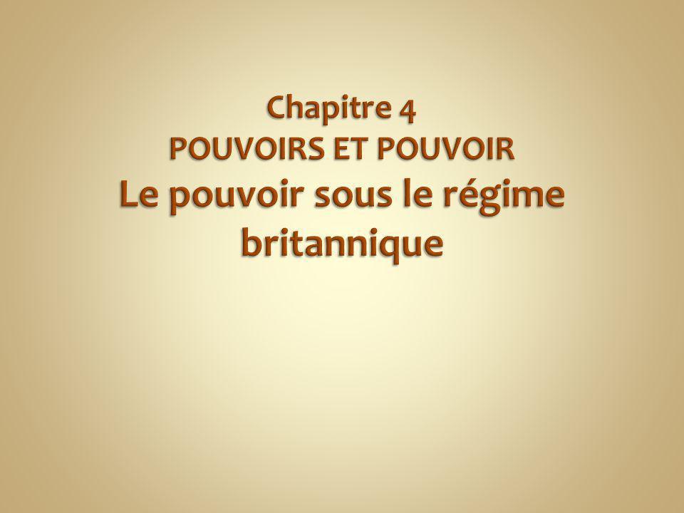 Chapitre 4 POUVOIRS ET POUVOIR Le pouvoir sous le régime britannique
