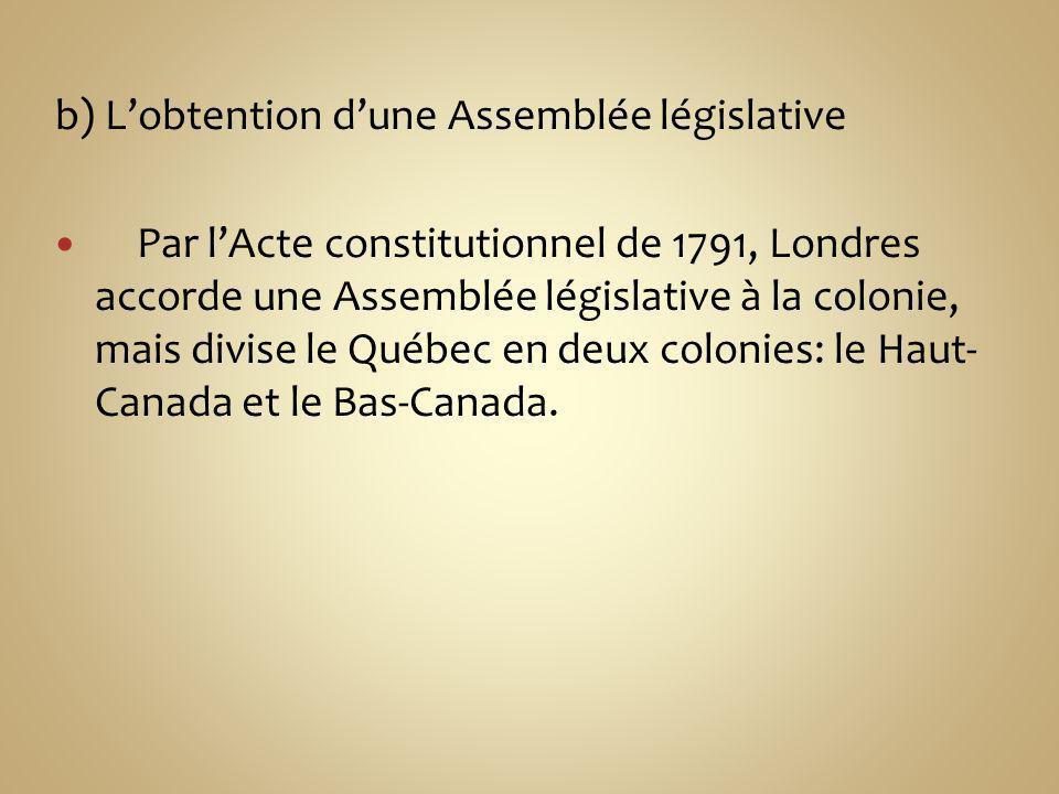b) L'obtention d'une Assemblée législative