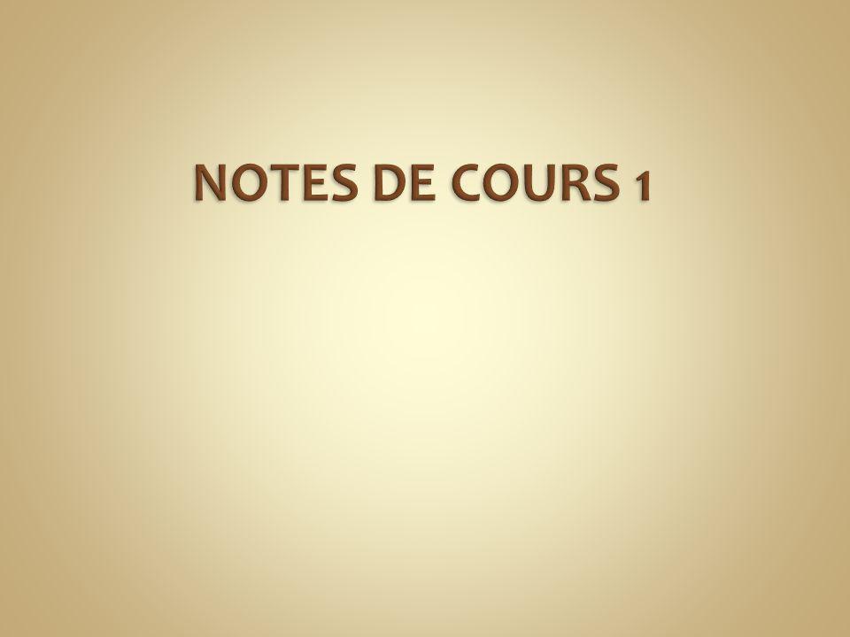 NOTES DE COURS 1