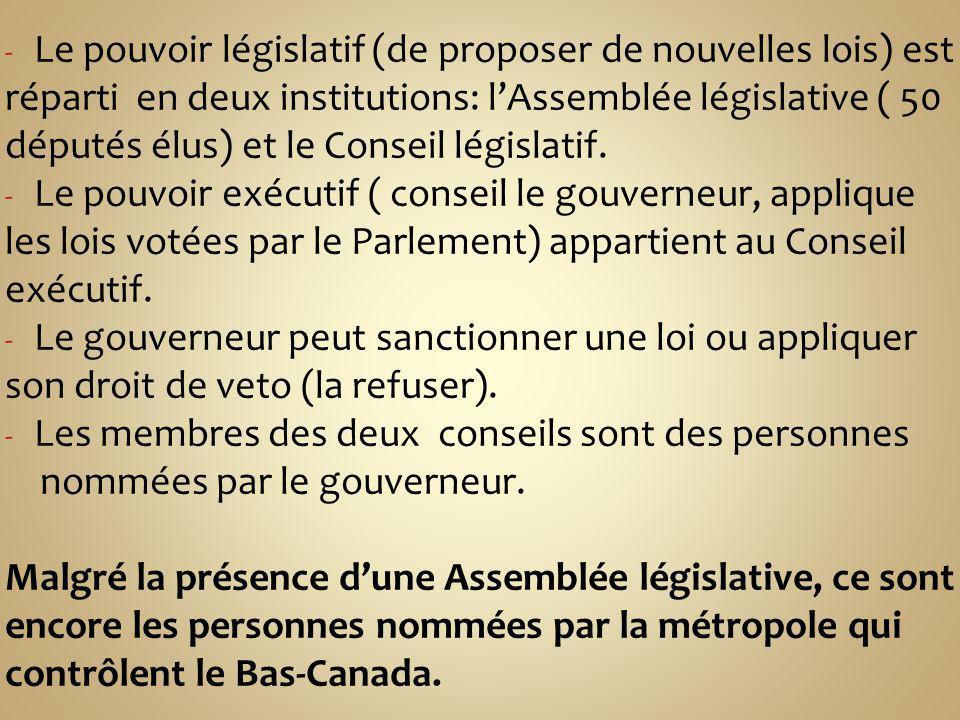 Le pouvoir législatif (de proposer de nouvelles lois) est réparti en deux institutions: l'Assemblée législative ( 50 députés élus) et le Conseil législatif.
