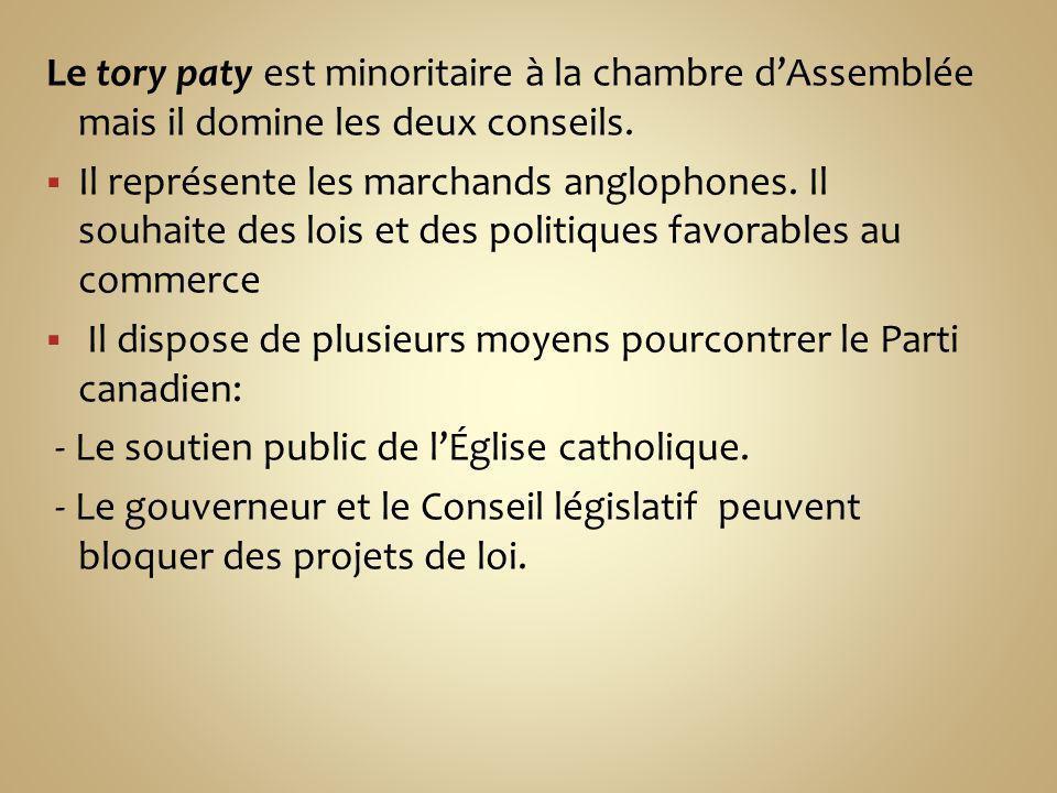 Le tory paty est minoritaire à la chambre d'Assemblée mais il domine les deux conseils.