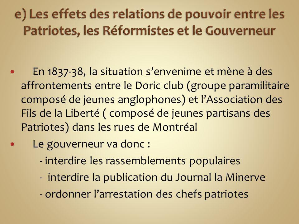 e) Les effets des relations de pouvoir entre les Patriotes, les Réformistes et le Gouverneur