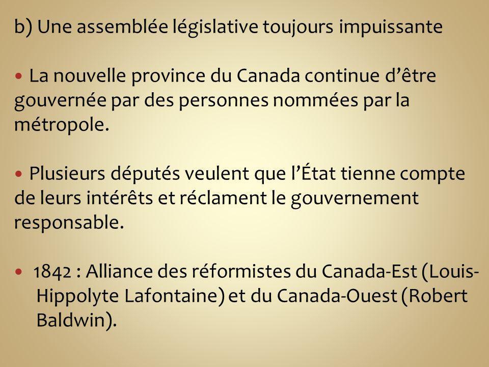 b) Une assemblée législative toujours impuissante