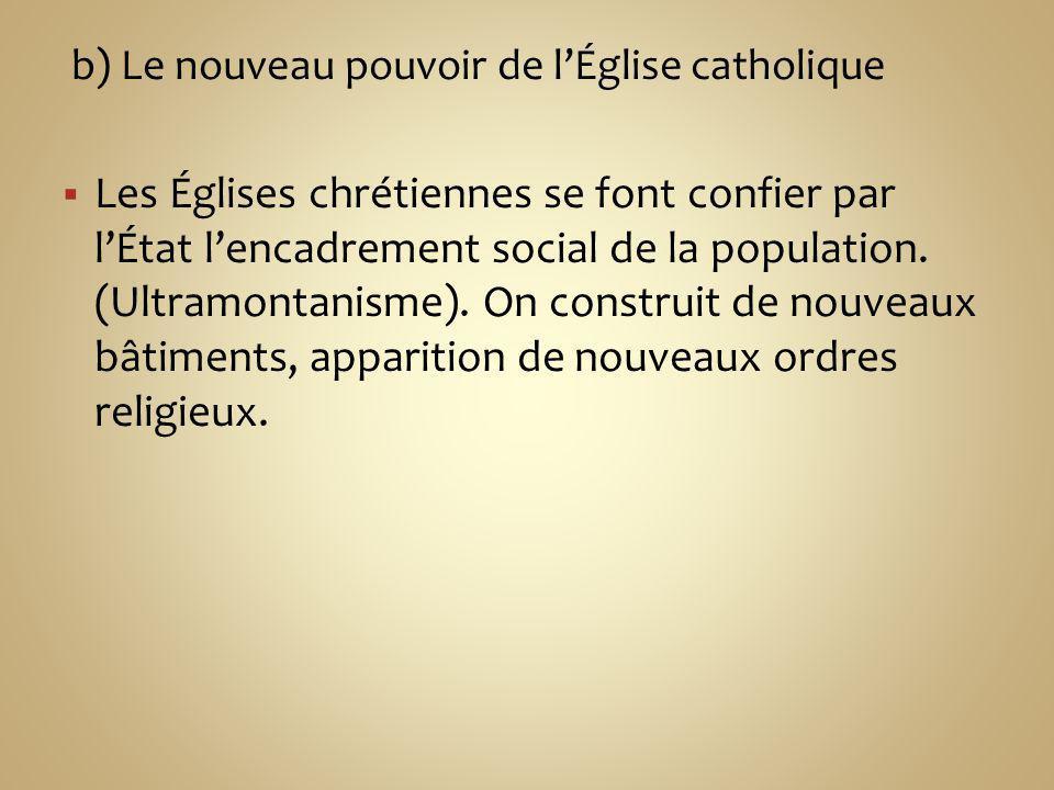 b) Le nouveau pouvoir de l'Église catholique