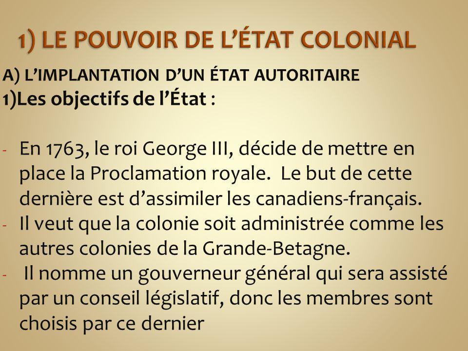 1) Le pouvoir de l'état colonial