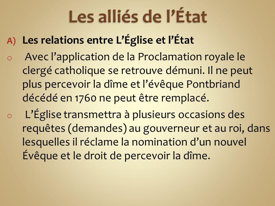 Les alliés de l'État Les relations entre L'Église et l'État