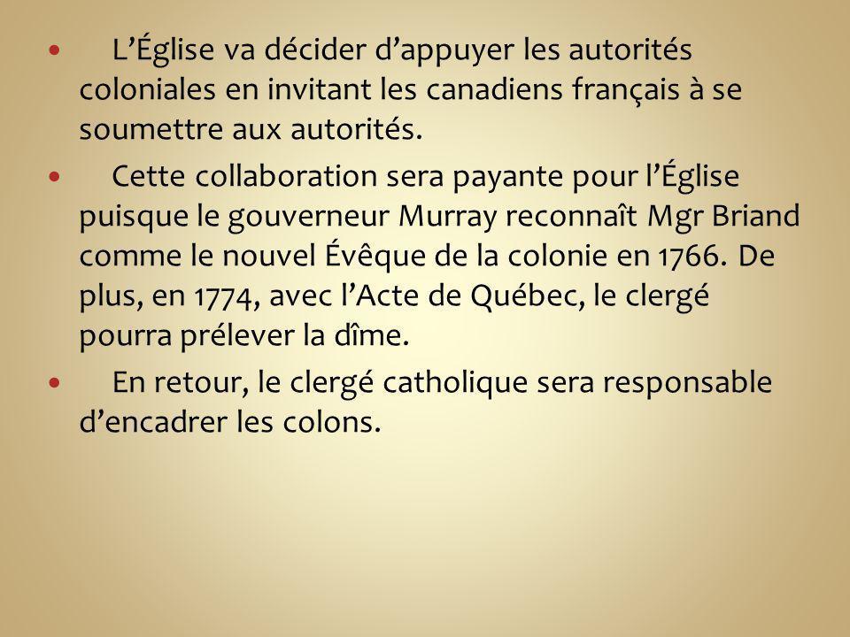 L'Église va décider d'appuyer les autorités coloniales en invitant les canadiens français à se soumettre aux autorités.