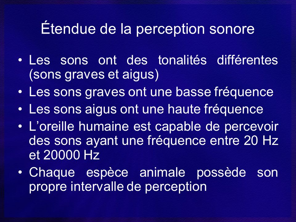 Étendue de la perception sonore