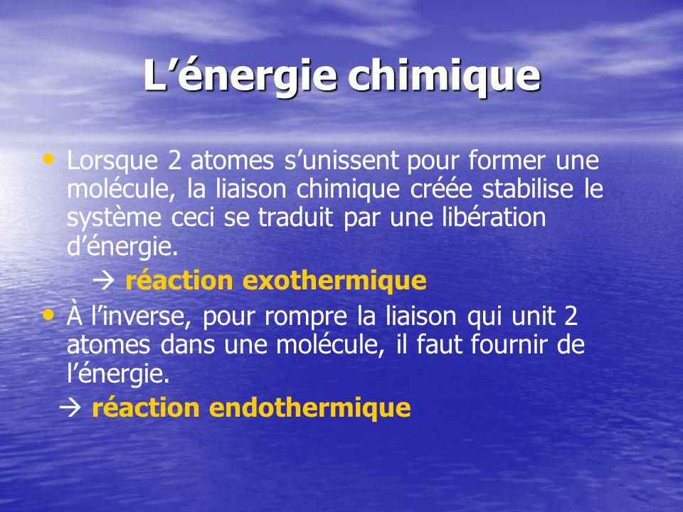 L'énergie chimique