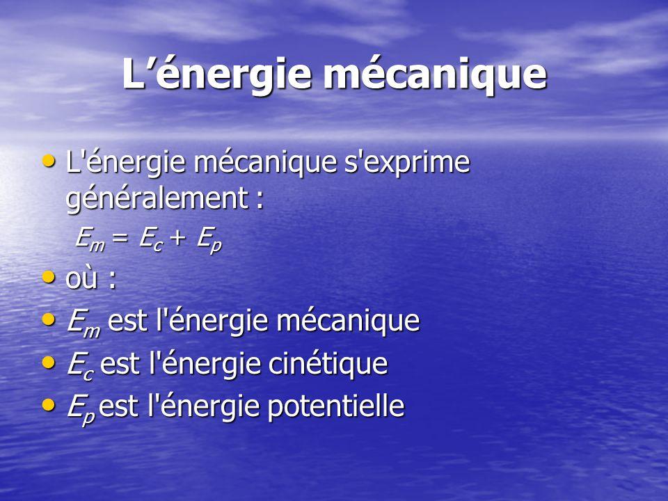 L'énergie mécanique L énergie mécanique s exprime généralement : où :
