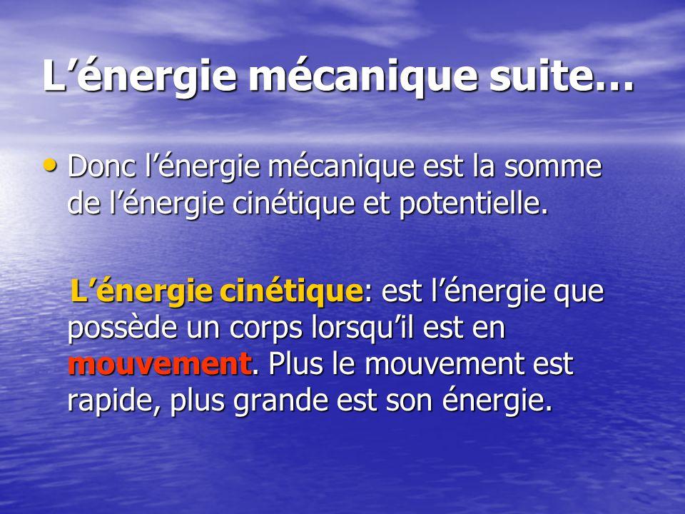 L'énergie mécanique suite…