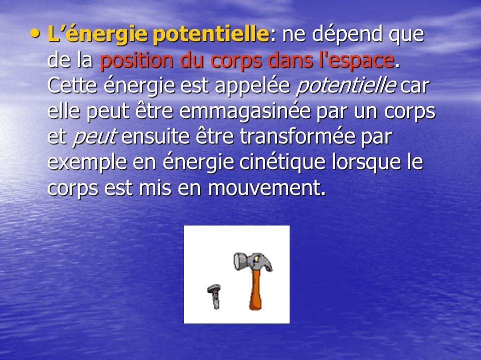 L'énergie potentielle: ne dépend que de la position du corps dans l espace.