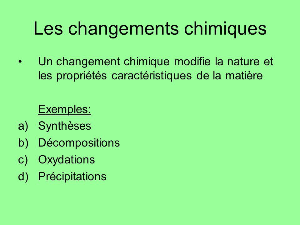 Les changements chimiques