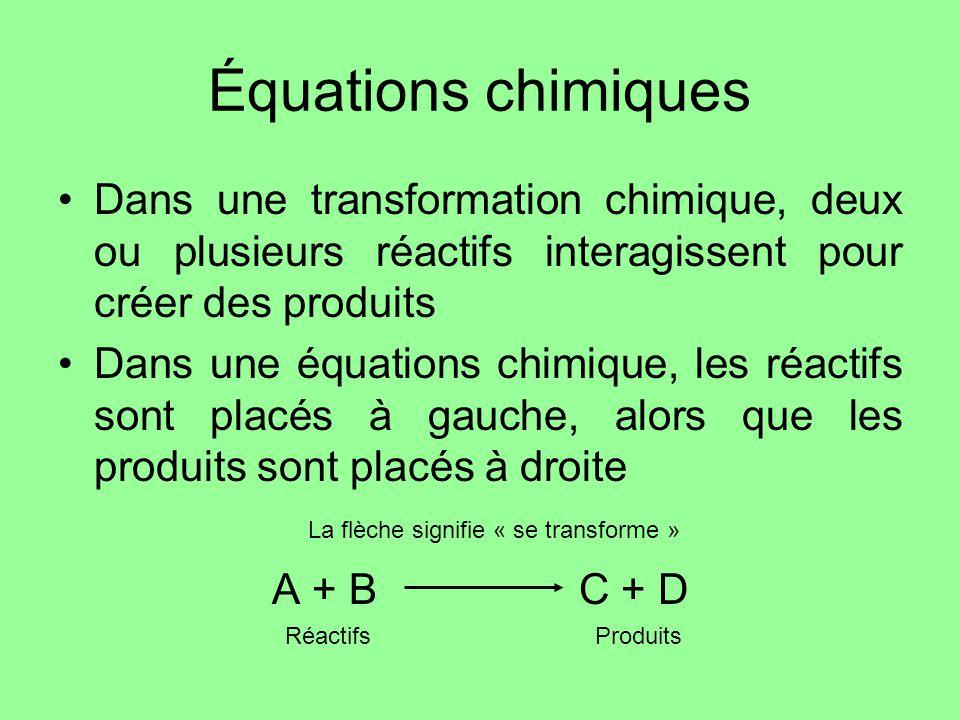 Équations chimiques Dans une transformation chimique, deux ou plusieurs réactifs interagissent pour créer des produits.
