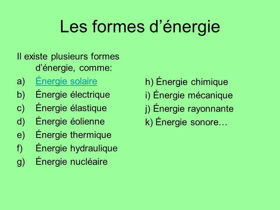 Les formes d'énergie Il existe plusieurs formes d'énergie, comme: